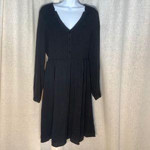 ANTHROPOLOGIE MAEVE LONG SLEEVE BLACK SHIRT DRESS